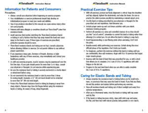 Theraband Exercise Information for Patients and Consumers Page 5-6 Information for Consumers